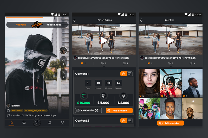 UI – Music Social App – Panga